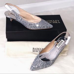 ✨New BADGLEY MISCHKA Stephanie II Glitter Pumps